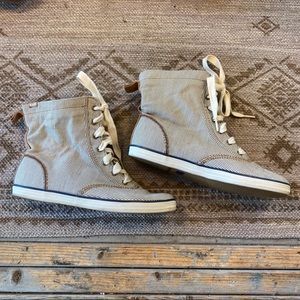 Keds high top lace up pinstripe sneakers size 7.5